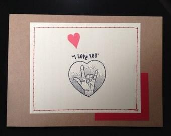 Sign Language Love Card sign language i love you I love you in sign language anniversary card love card