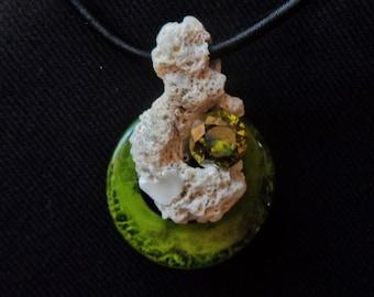 Coral-Peridot-Bakelite Pendant - Very Unique - OOAK