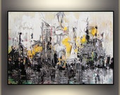 "Abstract City 20""x16 Silver City by Tatjana Ruzin Abstract Painting Art Painting Acrylic Art ORIGINAL Abstract Painting Gifts for him"