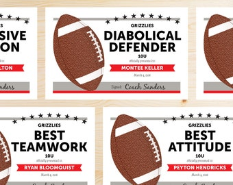 Editable Football Award Certificates - INSTANT DOWNLOAD PRINTABLE - Red, Scarlet, Silver, Gray