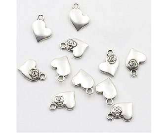 12 Heart Charms with a Corner Flower Accent Small Lovely Hearts Atq Silver Tone Valentine Love Charm Jewelry 11x14 mm  NOTE SIZE