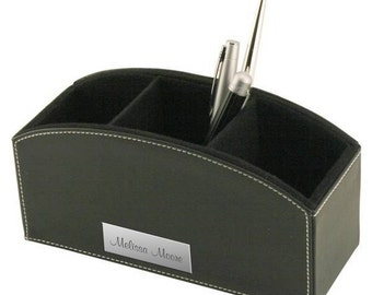 Personalized Black Leatherette Desktop Organizer