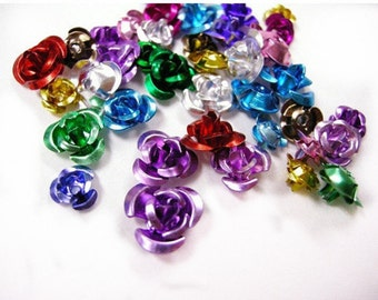 50pc mix size and color aluminum flower beads-5006