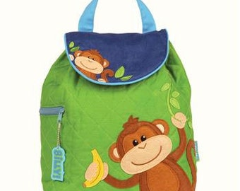 Personalized Stephen Joseph Monkey Quilted Backpack