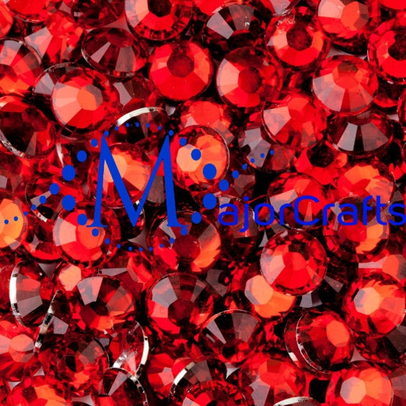 Light Red Flat Back Round Resin Rhinestones Embellishment Gems C20