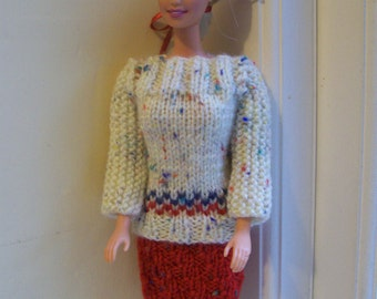 Barbie clothes - cream jumper and red skirt