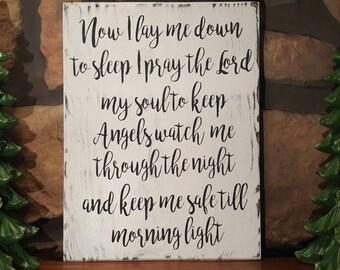 Now I lay me down to sleep Nursery bedtime Prayer, baby, Hand painted Sign, Rustic, Gracious Beginnings from Jordan's Designs