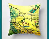 Palm Springs Map Pillow Cover, Palm Springs Art, Mid Century Modern, California Map Pillow, Desert Hot Springs, Decorative Pillow,  MCM Mod
