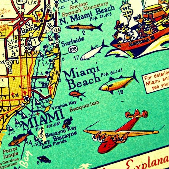 Miami Map art, Retro MIAMI BEACH photograph, vintage Florida map print Key Biscayne red orange fish airplane nostalgia Ikea Ribba frame size