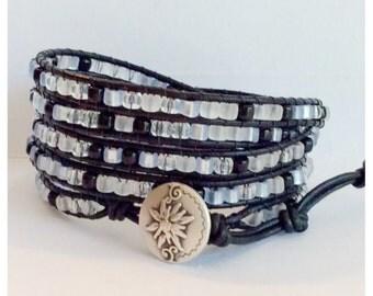 Beaded Leather Wrap Bracelet - Crystal, clear, blue, black Shimmering  Miyuki Beads, Black Leather - Elegant Boho