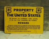 One sided METAL BRASS vintage Property of the United States Reward Sign