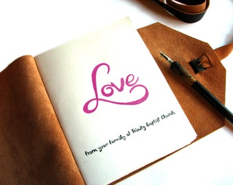 Add a Personalized Custom Hand Painted Title Page to any Custom Leather Journal, guest book, anniversary gift, gift idea