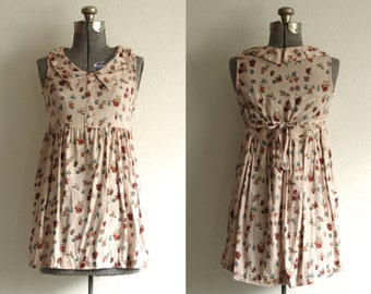 1990s Sostanza Rayon Floral Peter Pan Collar Tie Back Babydoll Mini Dress Small