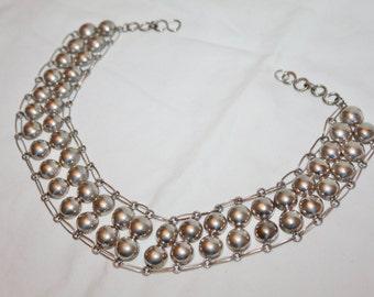 Vintage Sterling Bib Necklace, Sterling Boho Bib Necklace, Silver Choker Collar Necklace, 1960s Jewelry