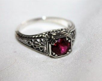 Sterling Filigree Ring Ruby  Victorian  Engagement Vintage Jewelry
