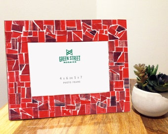 5 x 7 or 4 x 6 Red Mosaic Picture Frame