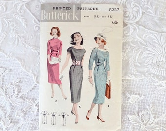 Vintage Butterick 8227 Cummerbund Sheath Dress Size 12 Bust 32
