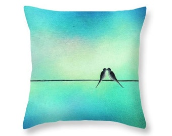 Love Birds Pillow, Birds on a Wire Art Throw Pillow, Pastel Home Decor, Decorative Cushion, Soft Blue Green Living Room Accent Pillow