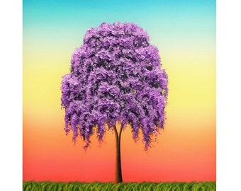 Weeping Willow Tree Art Print, Giclee Print of Purple Tree Painting, Rainbow Sky Colorful Tree Print, Multicolored Contemporary Wall Art