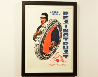 1930's Soviet Automobile Tire Advertising Poster in Gallery Frame - Great Graphics - Litho Print - not Inkjet