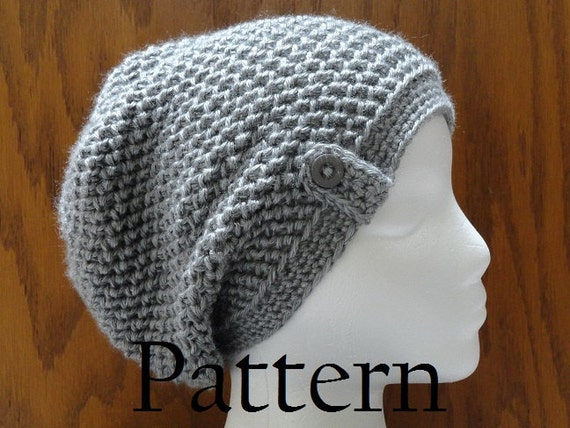 Herringbone Stitch Knit Hat Pattern : Crochet Beanie PATTERN Herringbone Button Slouchy Beanie Hat