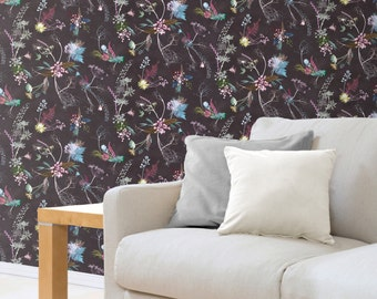 Floral Botanical Wallpaper, Edwardian Blooms Design, Bold Home Décor, Feature Wall