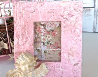 Pink 3D Cherub Picture Frame - Baroque Table Top Bedside 2 x 3 Pic
