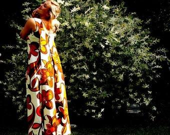 Hawaiian Formal 1960s Retro Abstract Earth Tone Maxi Dress Floral Cream Brown Orange Barkcloth Vintage Sack Back Gown Watteau Pleat Malihini