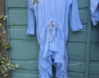 RitaNoTiara W Magnolia Bow pale blue  plus size pure cotton lace Dress Daisy drop waist layering shabby chic Boho Gypsy Prairie Lagenlook