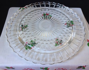 Anchor Hocking - Bubble and Daisy - Cake Plate - Clear Glass Serving Plate
