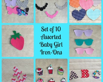 10 Assorted Baby Girl Iron Ons, Onesie Decorating Station for Baby Shower