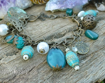 Gypsy Butterfly Bracelet- gothic- bridal- wedding- fantasy- cosplay- aqua blue- forest magic- princess of the woods- hidden treasury