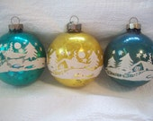 Vintage Christmas Ornament Lot of 3 Mercury Glass with Winter Scene  circa 1960s