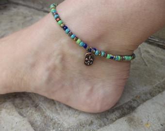 Fleur de Lis Colorful Anklet Czech Glass Beads Summer Anklet Adjustable Anklet
