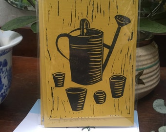 A6 yellow lino greeting card and envelope