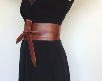 Wrap Leather Obi Belt - Unique Wide Belts - Tie Belts - Fashion Wraparounds Belt in Red Vine - Streetstyle