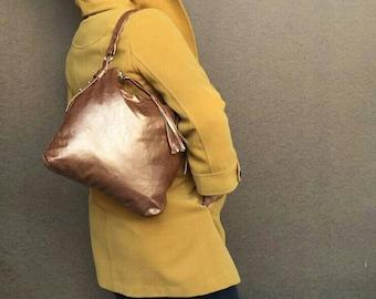 Bronze leather bag / boho chic hobo purse / unique shoulder handbag / handmade handbag Anabella