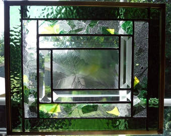 Beveled Stained Glass Panel in Greens and Yellows with Brass Frame