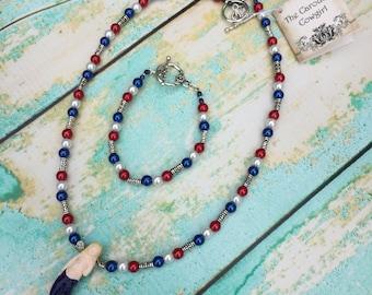 USA Patriotic Mermaid Necklace and Bracelet Set - Red White Blue Mermaid Necklace Bracelet - Fourth of July - Mermaid in America - America