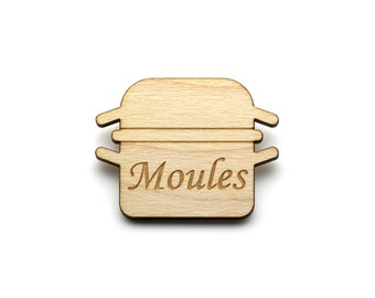 Moulds brooch  - Moulds jewelry  - maple wooden jewellery - wood and metal pin - lasercut minimalist jewelry