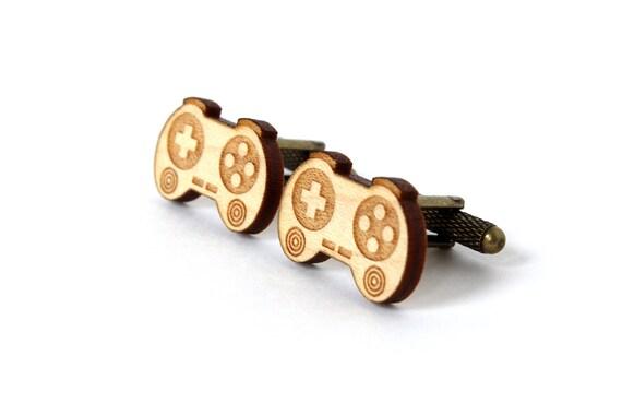 Joystick cufflinks - video game cuffs - geek accessory - wooden jewellery - lasercut wood - gift for men - lasercutting - wedding complement