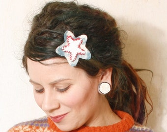 Star hair clip Leather hair clip Gift for her White hair clip Holiday hair Kids hair clip