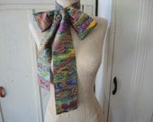 Vintage 1960s scarf belt headband colorful watercolor polyester 3.5 x 68 inches
