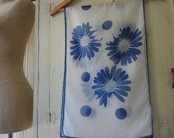 Vintage 1960s sheer chiffon scarf abstract floral blue and white  13 x 44 inches
