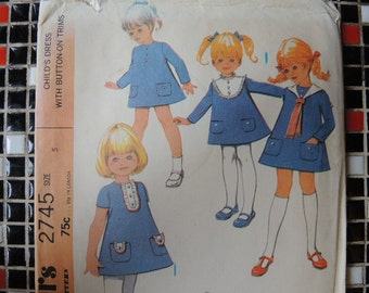 vintage 1970s McCalls sewing pattern 2745 girls A line dress  uncut size 5
