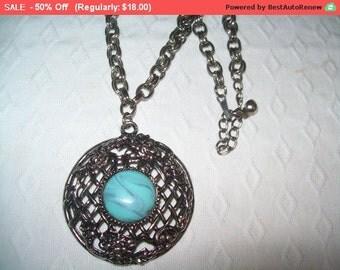 SALE Large chunky turquoise pendant necklace, hippie, boho