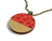 Tan Spotty Geometric Polka Dot Painted Necklace