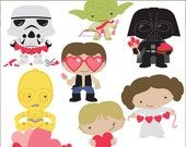 Star Heroes Clip Art Valentine Set -Personal and Limited Commercial- Cupid, Aliens, Trooper, Princess, Wars, Hearts, Clipart