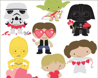 Star Heroes Clipart Valentine Set -Personal and Limited Commercial- Cupid, Aliens, Trooper, Princess, Wars, Hearts, Clip art