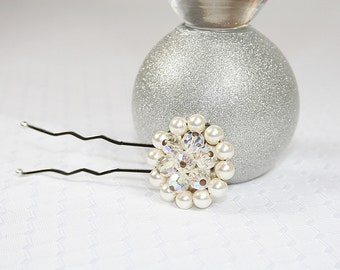 Elegant Faux Pearl and Crystal Bead Hair Pin Sparkly Wedding Hair Pin